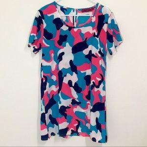 Boohoo Pink & Blue Camo Keyhole Dress!